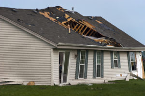 A home that has suffered from storm damage.